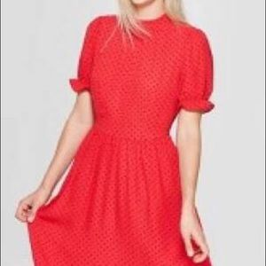 Who What Wear red black polka dot high nec…